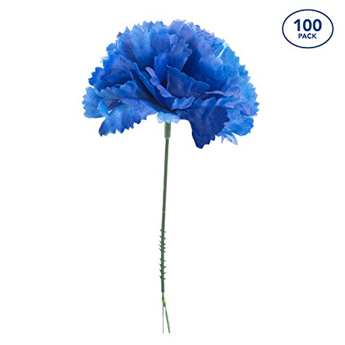 Royal Imports 100 Royal Blue Silk Carnations, Artificial Fake Flower for Bouquets, Weddings, Cemetery, Crafts & Wreaths, 5