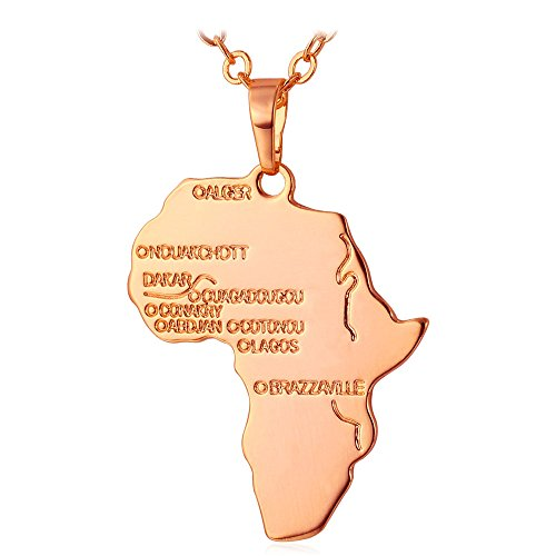 U7 2016 New Hip-hop Jewelry Rose Plated Unisex Women Men Fashion African Map Pendant Necklace by U7