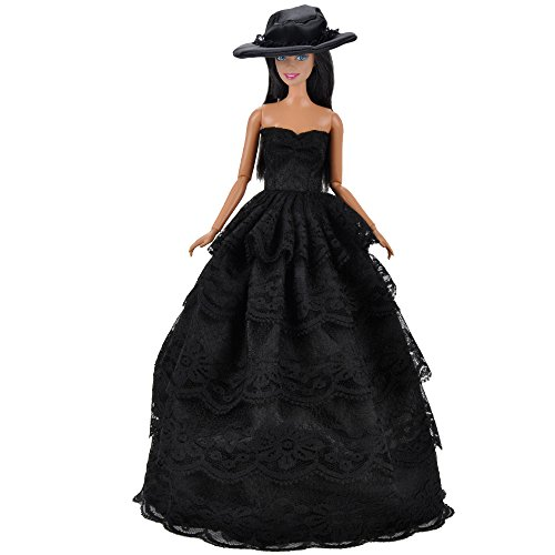 E-TING Handmade Lace Wishes Clothes for Barbie Doll, 1 pcs Sexy Long Formal Ball Gown Party Dress for 11.5 inches Barbie Dolls, Cocktail Evening Prom …