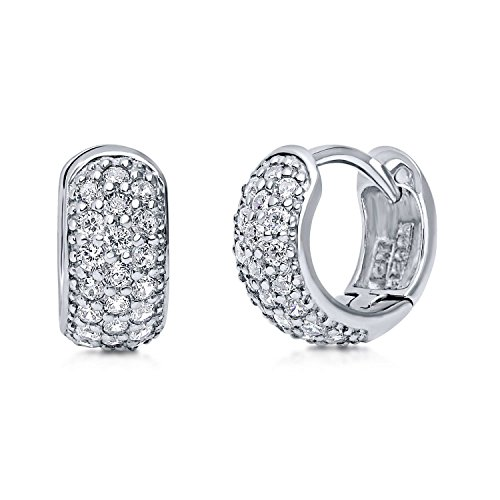 BERRICLE Rhodium Plated Sterling Silver Cubic Zirconia CZ Small Huggie Earrings 0.5