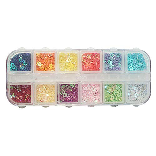(12Grids Chunky Hexagon Nail Glitter Flakes Mix Star Heart Round Sequins Pigment (Model - 6 пј€12Gridsпј‰))