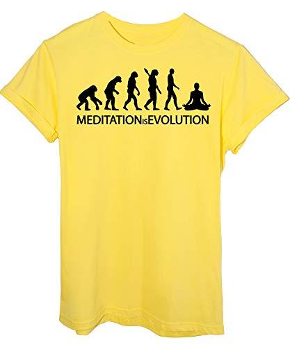 Giallo shirt T Image Evoluzione By Evolution Sport Yoga Meditazione 8p6PcUw7q