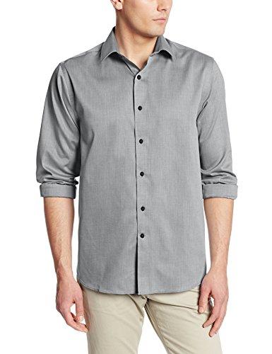 Dress Buck Shirt Cotton Cutter & (Cutter & Buck Men's Epic Easy Care Mini Herringbone Shirt, Charcoal, Large)