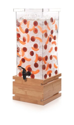 (Rosseto LD131 Acrylic Square Beverage Dispenser with Natural Bamboo Base, 4-Gallon Capacity, 11.8