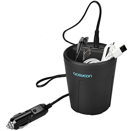 aceyoon 3 Port Car Cup Holder Charger DC 12V / 36W Fast Charge Multi Port USB Charging Dock Station ABS Fire Resistant Car Cigarette Lighter Charger for iPhone 7, 7 plus, iPad, Samsung galaxy (Usb Dock Charger Charge)
