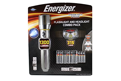 Energizer Performance Metal LED Flashlight with Vision HD+ Focus, Flashlight and Headlight Combo Pack (Batteries Included)