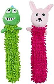 Outward Hound Brinquedo de pelúcia para cães Nubbiez Loofa pacote com 2 – Brinquedos leves para cães para dive