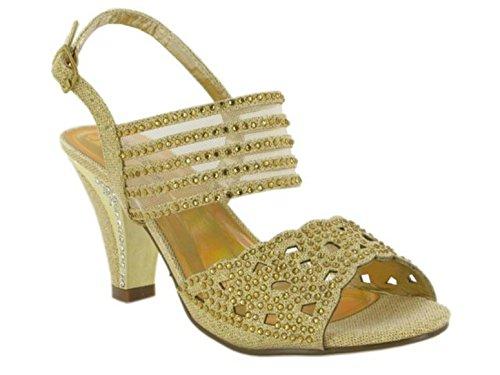 Dorado Talón Footwear Abierto London Mujer Ux1w6XpqU