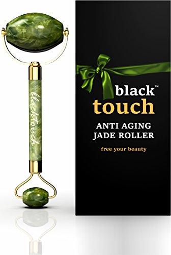 Jade Roller for Face - Anti Wrinkle 100% Natural Jade Stone Roller - Anti Aging Skin Slimming Massager - Original Real Double Jade Facial Roller (green)