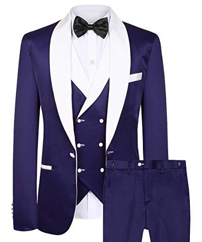 CMDC 3 Pieces Tuxdeo Suit One Button Suit Double Breasted Vest Pants Set(Purple,52)