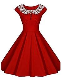 Miusol Women's Retro Scoop Neck Lace Vintage Evening Party Dress (3224)