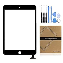 Universal Buying (TM) Black iPad Mini 1 Mini 2 Screen Replacement Digitizer Display , Touch Screen Assembly Parts with Flex Cable+Adhesive Sticker+ Repair Tools & Kits for iPad Mini 1st Mini 2nd (Without IC)