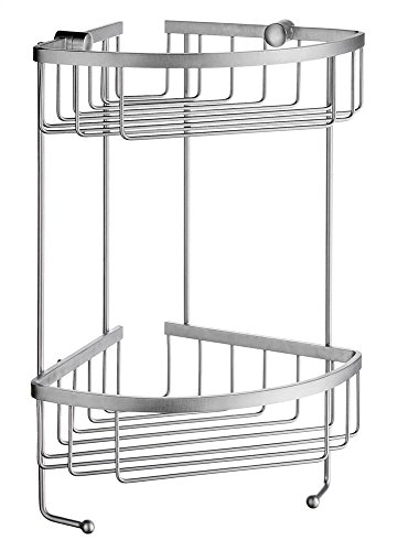 SMEDBO Sideline 2 Level Corner Soap Basket in Brushed Chrome Finish