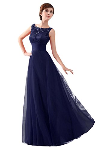 230595ef9463 Beauty-Emily Womens Long Formal Evening Dresses Appliques Party Cocktail  Mother of the Bride Gowns Navy Blue Size US10