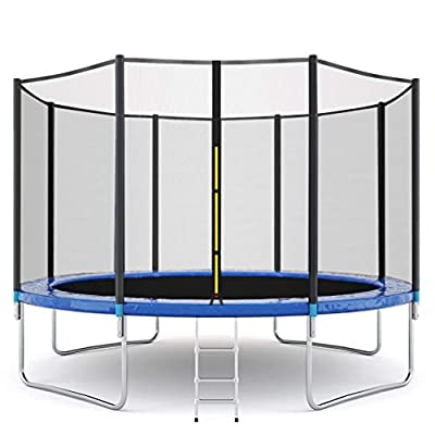 Muuvifnk 12 FT Kids Trampoline with Enclosure Net Jumping Mat and Spring Cover Padding Ladder Pole Safety Pad Jumping Mat Spring Pull T-Hook, Include All Accessories : Sports & Outdoors