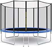 Yalasga 12 ft 10 ft Trampoline Round Jumping Table Outdoor Trampoline with Safety Enclosure Net Sping Pad Comb