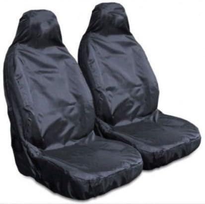 Front Pair 1+1 MREHDB2929 Mr E Saver/© Heavy Duty Black Waterproof Car Seat Covers