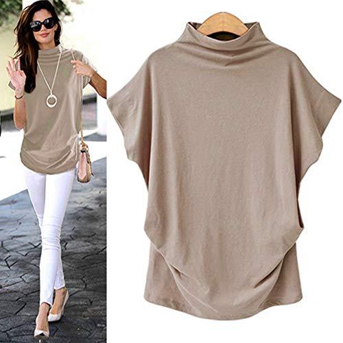 Sttech1 Shirts for Women, Women Turtleneck Short Sleeve Cotton Flowy Solid Casual Blouse Top T Shirt Plus ()