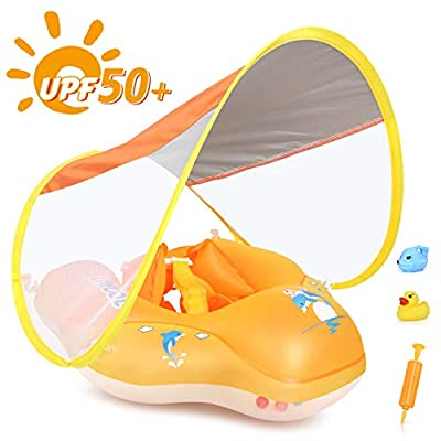 LAYCOL Baby Swimming Float Inflatable Baby Pool Float Ring Newest with Sun Protection Canopy,add Tail no flip Over for Age of 3-36 Months (Yellow, L): Toys & Games