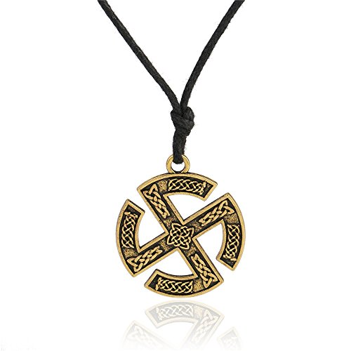 Wicca Religious Norse Viking Celtic Knot Sun Wheel Pendant Necklace Jewelry (Antqiue Gold) (Wheel Pendant Sun)