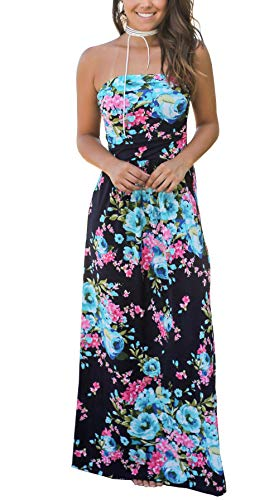 (Kbook Womens Strapless Vintage Floral Print Summer Beach Party Boho Pocket Maxi Dress,Navy Floral,Medium)