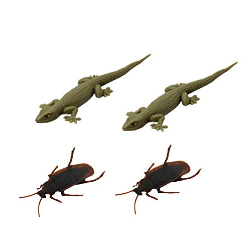Tootpado Real Looking House Gecko Rubber Lizard and Cockroach Toy – (Pack of 4) (CTNG83)