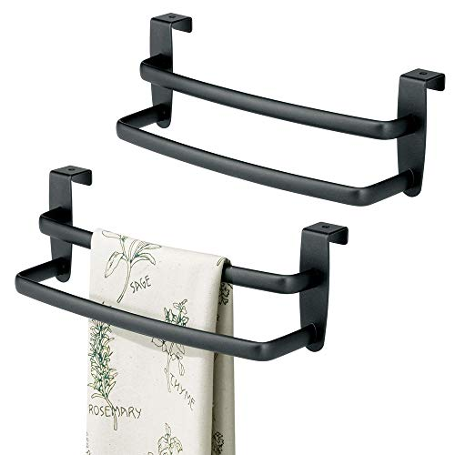 mDesign Modern Kitchen Over Cabinet Strong Steel Double Towel Bar Rack - Hang on Inside or Outside of Doors, Storage Organization for Hand, Dish, Tea Towels - 9.75'' Wide, Pack of 2, Matte Black Finish by mDesign
