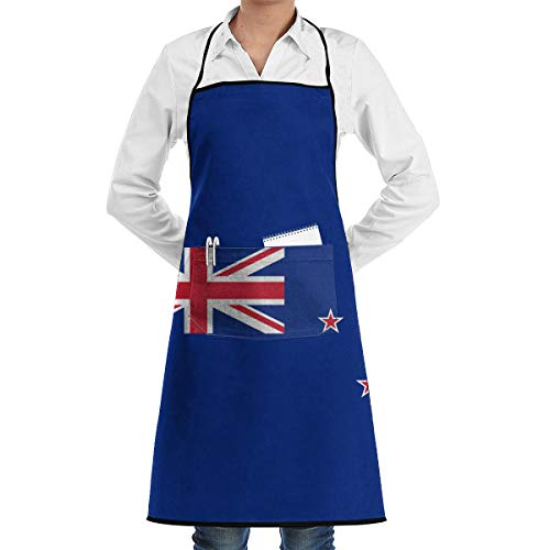 Coral Sea Islands New Zealand Flag Aprons Bib Adjustable Polyester Adult Long Full Kitchen Chef Cooking Gardening Apron for Indoor Restaurant BBQ Serving Grill Cleaning Crafting Baking ()