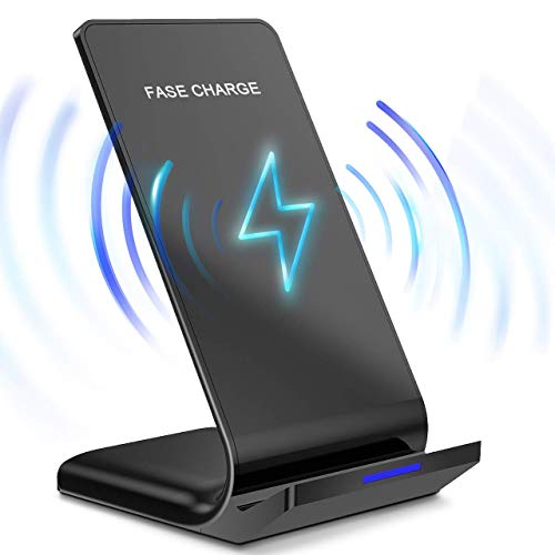Qi Certified Wireless Charger Pad Advanced 10W Fast Charging Stand for iPhone Xs MAX/XR/XS/X/8/8 Plus Galaxy Note 9/S9/S9 Plus/Note 8/S8 (No AC Adapter)
