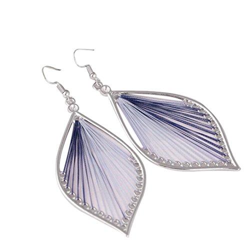 Elogoog Women's Girls Elegant Jewellery Bohemia Ethnic Ellipse Dangle Stud Earrings Eardrop (Light Purple) (Purple Enamel Dangle Earrings)