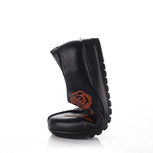 Zapatos de mamá/Zapatos ligeros/Zapatos planos con suave pie anciano bordado/ medio fondo plano mujer y zapatos de las mujeres de edad A