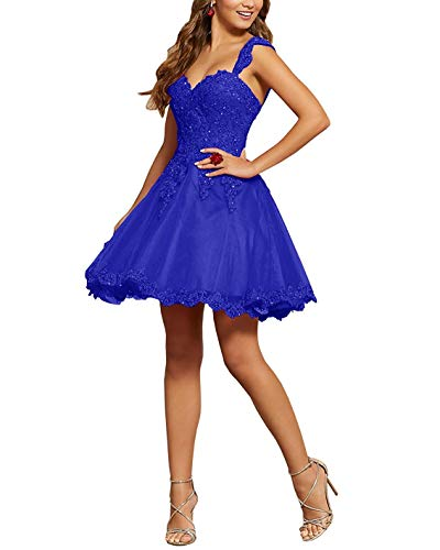 Ruisha Women Sweetheart Lace Beaded Ball Gown Short Prom Dresses Quinceanera Dresses RS0345 US 14 Royal Blue