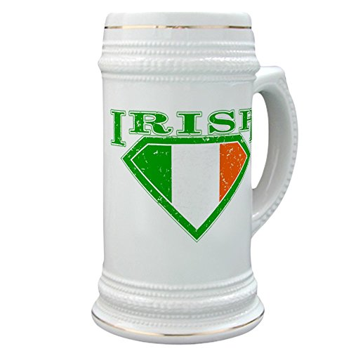 Stein (Glass Drink Mug Cup) Irish Superman Crest Luck of Irish - Im Irish Stein