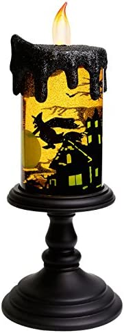 GiveU Spinning Witch Tornado Lamp, Battery Operated Water Glittering Table Centerpiece, Led Flameless Candle with Timer for Halloween Party and Home Decoration, Black