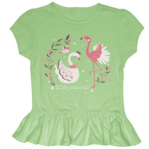 Stephen Joseph Kids' Toddler Ruffled Jersey Shirt, Flamingo/Swan, Small ()