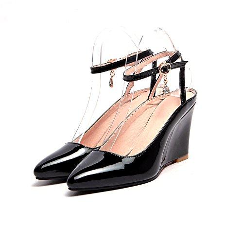 ZHZNVX Zapatos de mujer polipiel,Primavera Verano sandalias de tacón de cuña de bomba básica señaló Toe hebilla parte,noche NEGRO/PLATA/Rojo Black