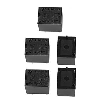 DealMux 5Pcs DC12V 10A 4 Terminal SPST NO diminuto potência da bobina de relé electromagnético