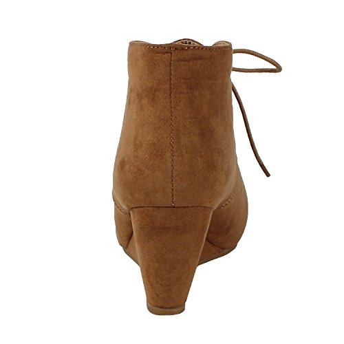 Ankle Sally up Bootie Lace Womens Camel 5 Wedge Anna aBwdRqYxq