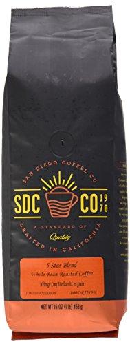 San Diego Coffee 5 Star Blend, Whole Bean Roasted Coffee, 16-Ounce (1-Pound)