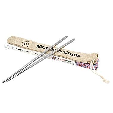 Mandala Crafts Chinese Japanese Korean Eating Washable Titanium Chopsticks Set (2 Pairs)