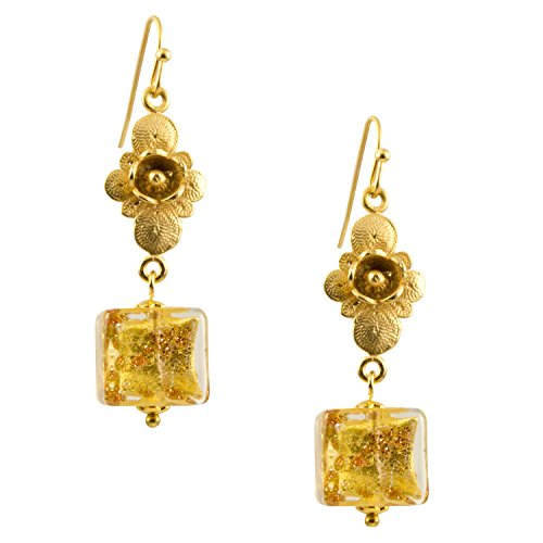 Gold Foil Venice Murano Glass Square Bead Flower Dangle Earrings - 1085