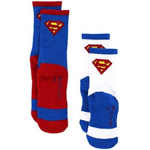 Price comparison product image Superman Youth 2 Pack Athletic Socks, Superman Blue/White, M/L (SockSize 9-11)