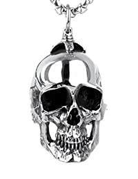 Jenhianeck Hip Hop Titanium Steel Tag Pendant,Skull Necklace For Mens,24Inch Chain