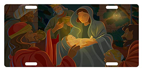 Nativity Christian Emblem Version 3 Aluminum Front License Plate Frame Cover Novelty Car Decoration, Auto Car Tag Sign 12 x 6 Inch]()