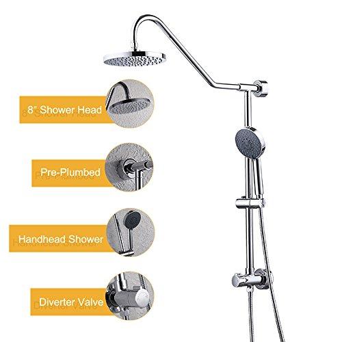 Fit Slide Bar - KES Showerspas Retro-Fit Rain Shower System with Handshower and Adjustable Slide Bar Chrome, X6401