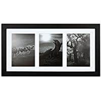 Golden State Art, 9x18 Black Photo Wood Collage Frame with Mat displays (3) 5x7 pictures with REAL GLASS