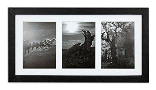 Golden State Art, 9x18 Black Photo Wood Collage Frame with Mat displays (3) 5