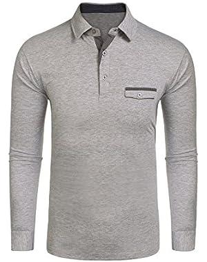 Men's Polo Shirt Jersey Tops Pocket T-Shirt Slim Fit Tee Shirt