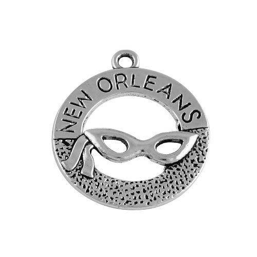Paquet 5 x Argent Antique Tibétain 28mm Breloques Pendentif (Masque New Orleans) - (ZX02750) - Charming Beads