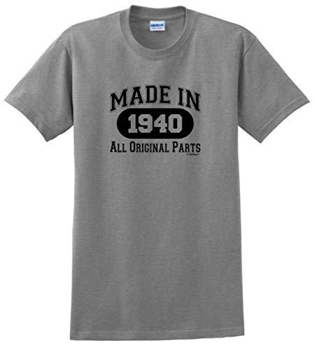 80th Birthday Gift Made 1940 All Original Parts T-Shirt XL Sport Grey